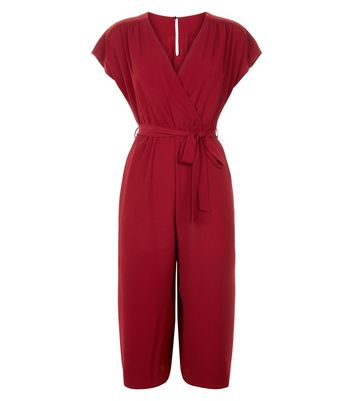 Dark Red Wrap Front Culotte Jumpsuit New Look