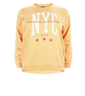 Curves Mustard Yellow NYC Print Sweatshirt New Look