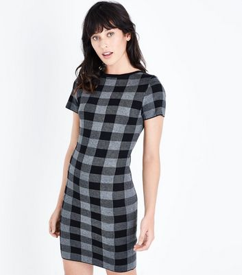 Apricot Grey Check Jumper Dress New Look