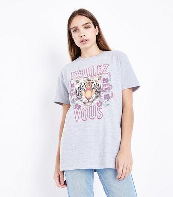 Grey Rhinestone Tiger Print T-Shirt New Look