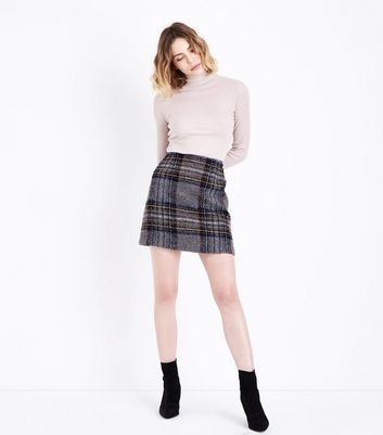 Grey Check A-Line Mini Skirt New Look