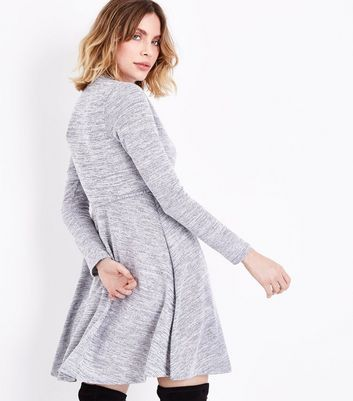 Grey Fine Knit Wrap Front Dress New Look