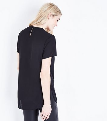 Black Embroidered Yoke T-Shirt New Look