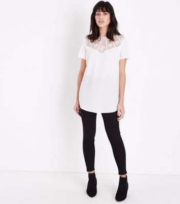 Off White Lace Yoke Longline T-Shirt New Look