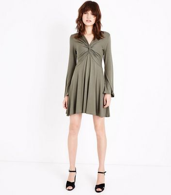 Khaki Twist Front Long Sleeve Mini Dress New Look