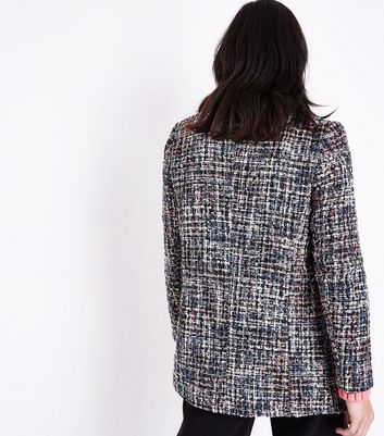 Black Glitter Boucle Pearl Button Jacket New Look