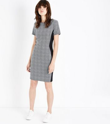 Grey Prince of Wales Check Panelled Bodycon Dress New Look