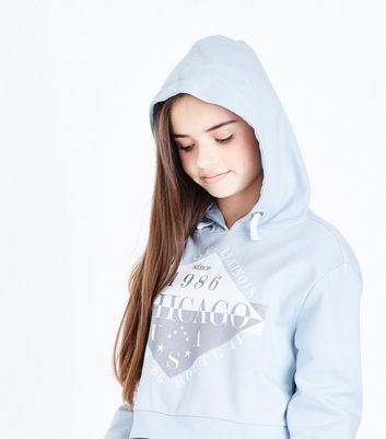 Teens Blue Chicago Print Hoodie New Look