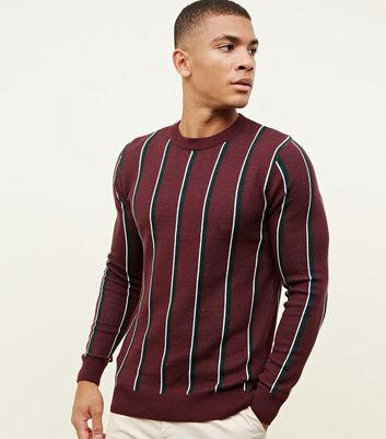 Burgundy Vertical Stripe Jumper