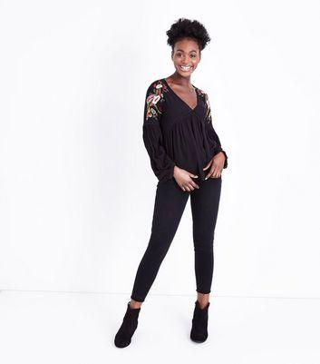 Black Floral Embroidered V Neck Smock Top New Look
