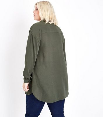Curves Khaki Overhead Shirt New Look
