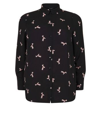 Curves Black Bird Print Shirt New Look