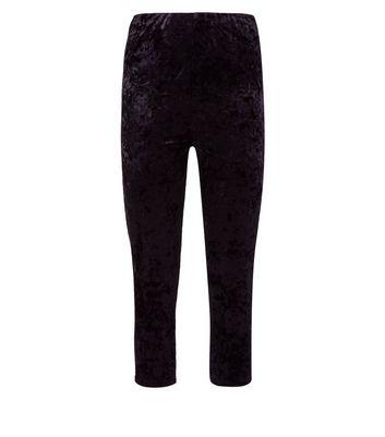 Black Cropped Velvet Leggings New Look
