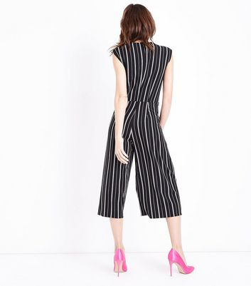Black Stripe Wrap Front Culotte Jumpsuit New Look