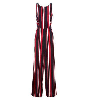 Black Stripe Cross Back Jumpsuit New Look
