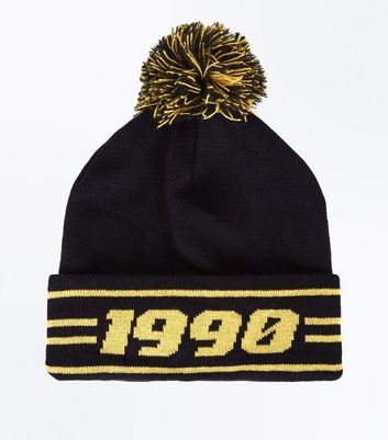 Black And Yellow 1990 Bobble Beanie New Look