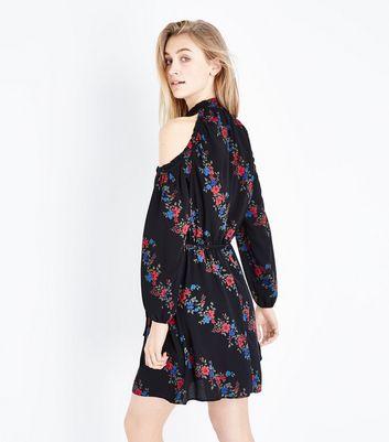Black Floral Stripe High Neck Cold Shoulder Dress New Look