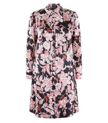 Black Floral Print Swing Shirt Dress New Look