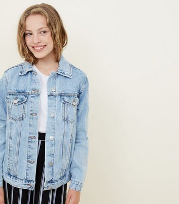 Girls Pale Blue Oversized Denim Jacket