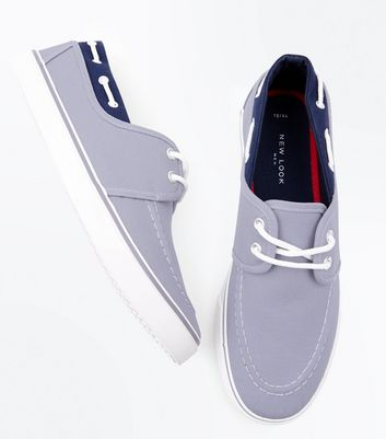 Grey Lace Up Canvas Boat Shoes New Look