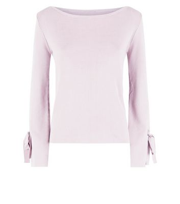 Cameo Rose Pink Eyelet Tie Sleeve Jumper New Look