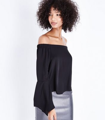 Black Hanky Sleeve Bardot Neck Top New Look