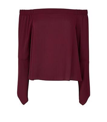 Burgundy Hanky Sleeve Bardot Neck Top New Look