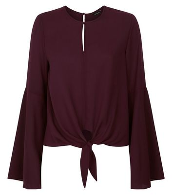 Burgundy Tie Front Flared Sleeve Blouse New Look
