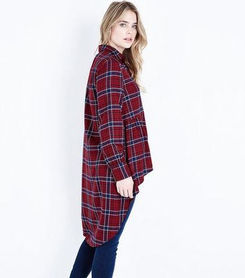 Red Check Dip Hem Longline Shirt New Look