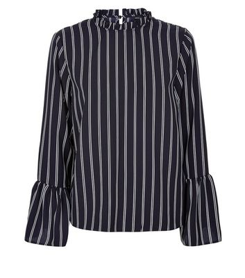 Black Stripe Frill Neck Bell Sleeve Blouse New Look