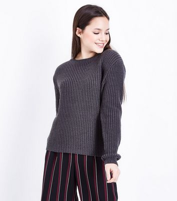 Teens Dark Grey Knit Jumper New Look