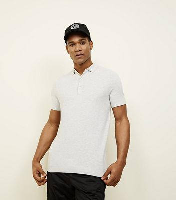 Pale Grey Knit Slim Fit Polo Shirt