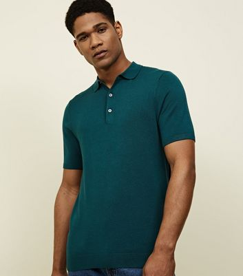 Polo Muscle Fit bleu turquoise en maille