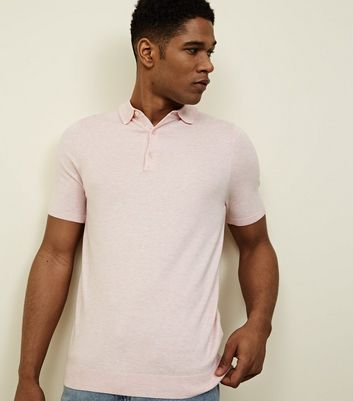 Pink Knit Muscle Fit Polo Shirt