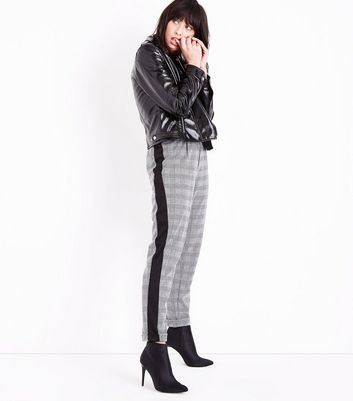 Black Prince of Wales Check Side Stripe Trousers New Look