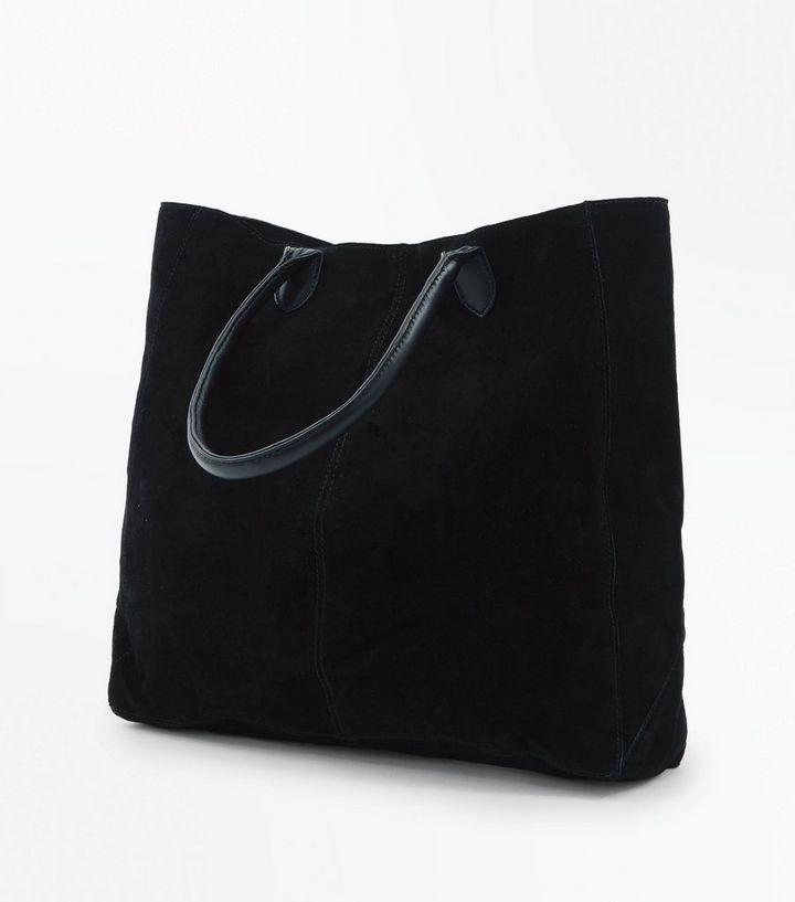 Black Suede Tote Bag The Look