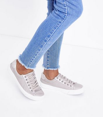 Teens Grey Leather-Look Lace Up Trainers New Look
