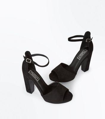 Black Suedette Platform Peep Toe Heels New Look