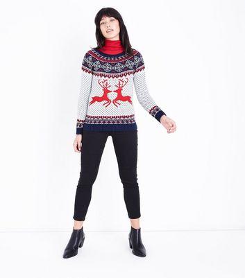 Mela White Reindeer Fairisle Knit Christmas Jumper New Look