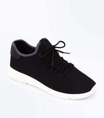 Black Knitted Runner Trainers | New Look