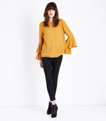 Mustard Yellow Tiered Sleeve Blouse New Look