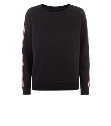 Black Tape Stripe Sleeve Sweatshirt New Look