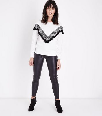 White Chevron Tape and Tassel Front Sweatshirt New Look