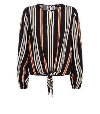 Black Stripe Tie Front Keyhole Top New Look