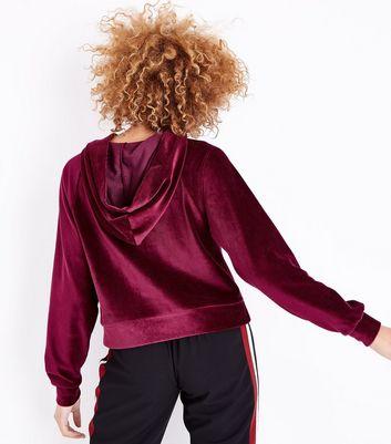 Burgundy Velour Raglan Sleeve Hoodie New Look