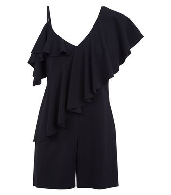 Black Asymmetric Frill Playsuit New Look