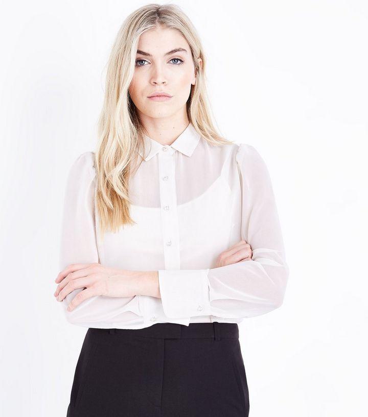aa22044f3 Cream Pearl Button Chiffon Shirt   New Look