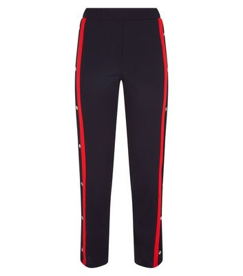 Cameo Rose Red Double Stripe Popper Side Trousers New Look