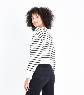 White Stripe Lace Up Front Sweatshirt New Look