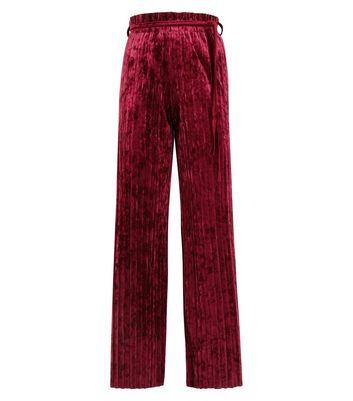 Cameo Rose Burgundy Velvet Wide Leg Trousers New Look